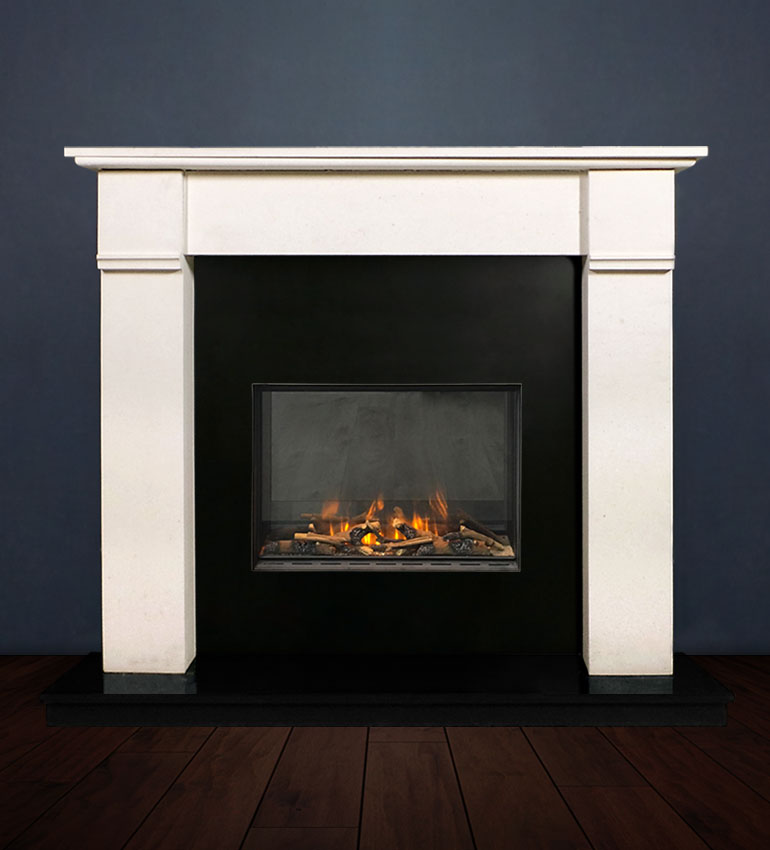 The Abbey fireplace package with Evonic 600F Electric Cassette Fire, remote control. Available form Buckley Fireplaces Dublin, supplied and installed.
