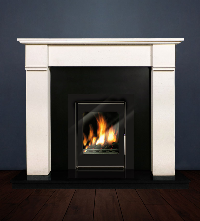 The Abbey fireplace package with Vitea 6kw solid fuel stove. Available form Buckley Fireplaces Dublin, supplied and installed.