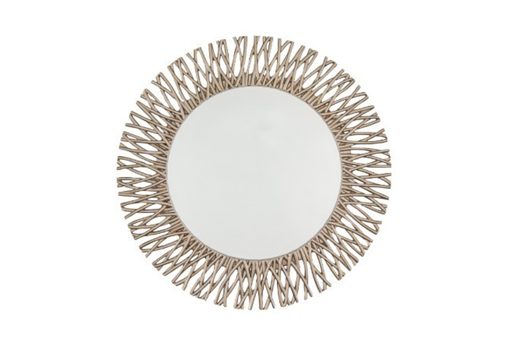Adel Champagne Silver Finish Over Mantel Mirror by Buckleys