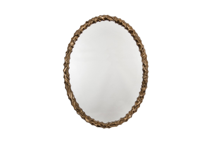 Angelica Oval Distressed Light Gold Over Mantel Mirror by Buckleys