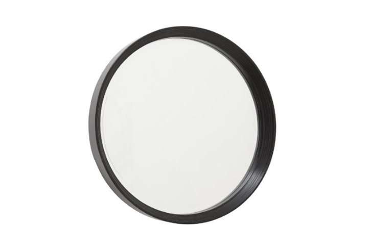 Galicia Black Semi Gloss Round Over Mantel Mirror by Buckleys
