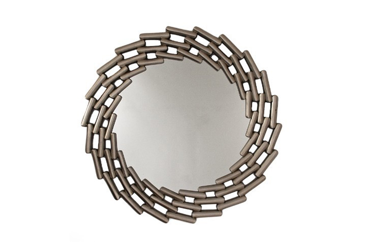 Lanthe Silver Leaf Round Over Mantel Mirror by Buckleys