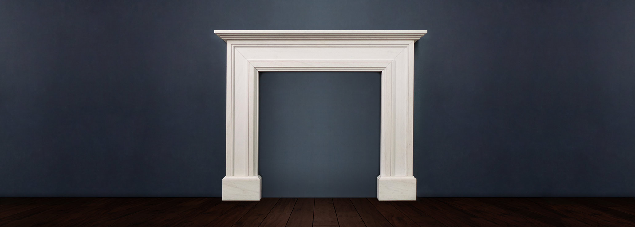 The Madrid fireplace available in limestone boasts a bold architectural design with lines that sweep across the legs and mantle