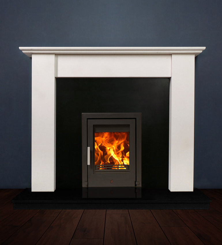 The Merlin fireplace package with Tenbury 5kw solid fuel stove. Available form Buckley Fireplaces Dublin, supplied and installed.