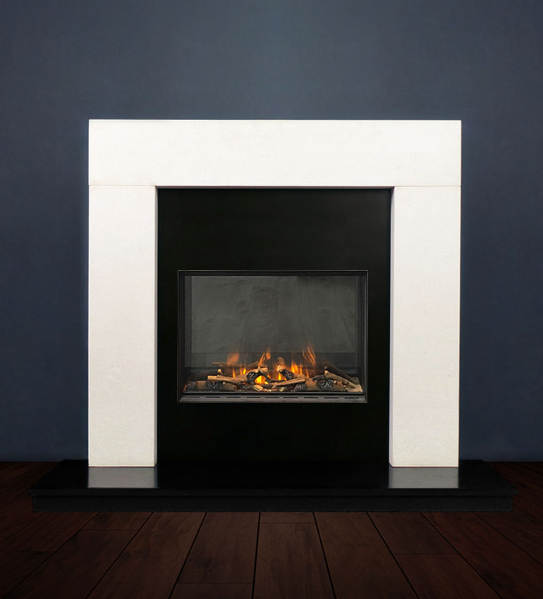 The Modern fireplace package with Evonic 600F Electric Cassette Fire, remote control. Available form Buckley Fireplaces Dublin, supplied and installed.