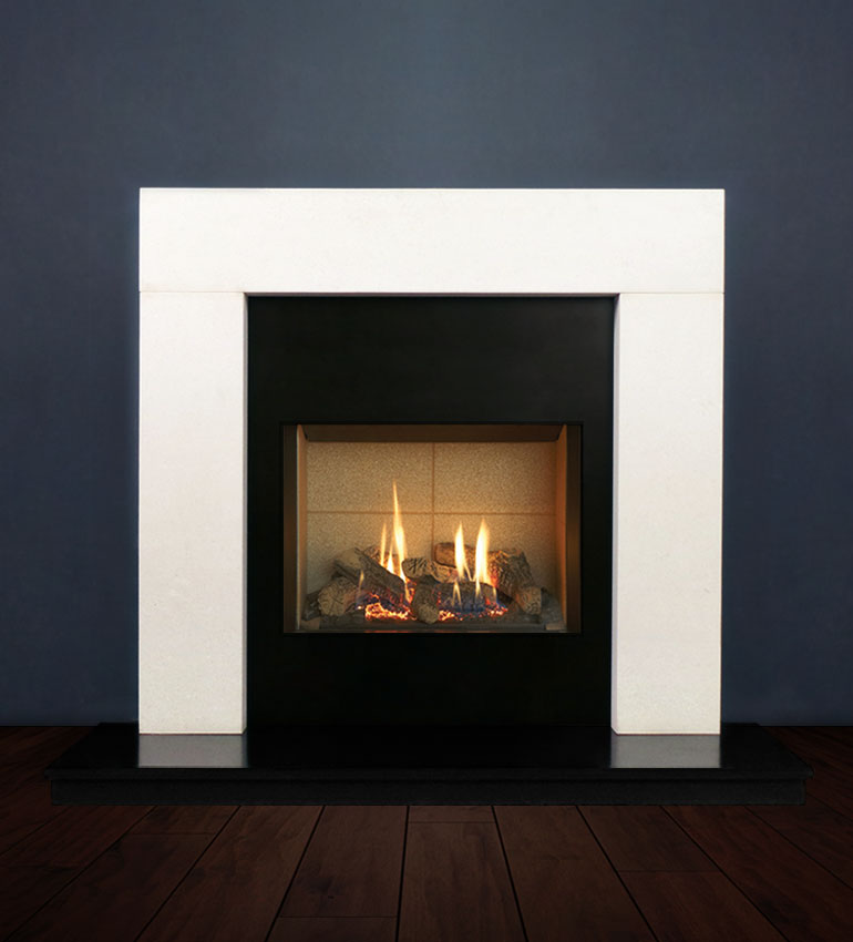 The Modern fireplace package with Riva 2-500 Natural Gas with vermiculite and logs, remote control with convectional flue. Available form Buckley Fireplaces Dublin, supplied and installed.