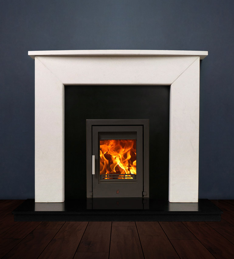 The Modern Two fireplace package with Tenbury 5kw solid fuel stove. Available form Buckley Fireplaces Dublin, supplied and installed.
