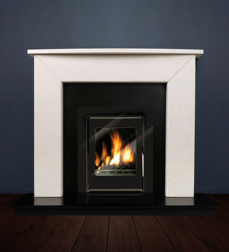 The Modern Two fireplace package with Vitea 6kw solid fuel stove. Available form Buckley Fireplaces Dublin, supplied and installed.