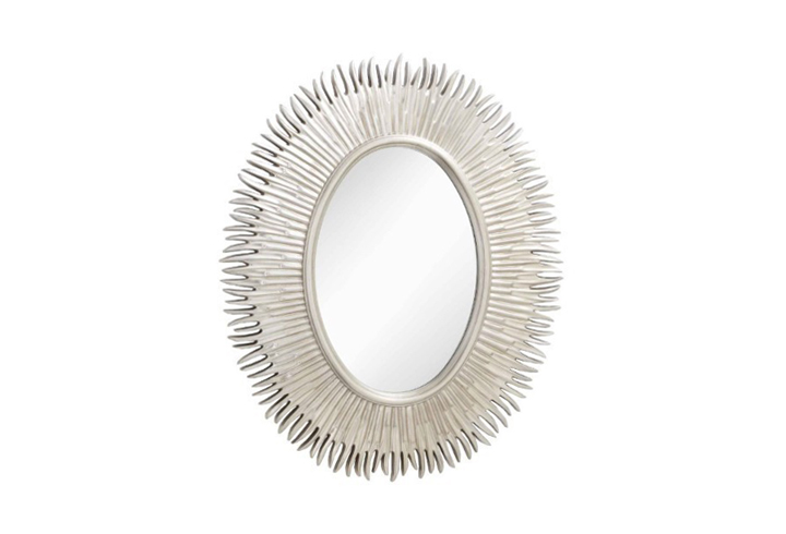Moher Oval Silver Leaf Finish Over Mantel Mirror by Buckleys