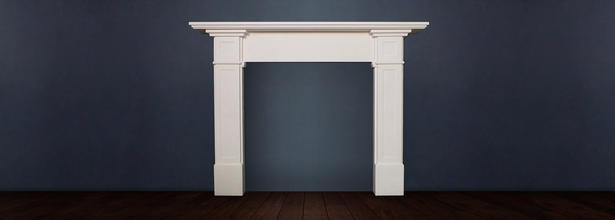 The Richmond fireplace is traditional in design has a refined composition with pleasing lines and a wide mantle available in limestone