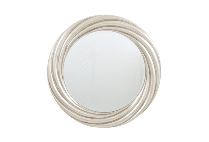 Silver Leaf Round Swirl Over Mantel Mirror by Buckleys