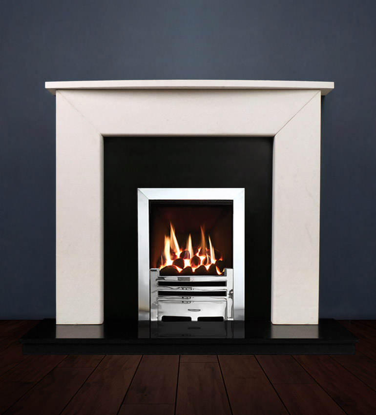The Modern II fireplace package with Logic NE Natural Gas Fire, remote control with convectional flue in a chrome finish. Available form Buckley Fireplaces Dublin, supplied and installed.
