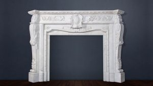 Elaborate Victorian Carved Stone Fireplace with Floral Detail