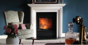Beautiful Modern fire surround in Buckley Fireplaces showroom.
