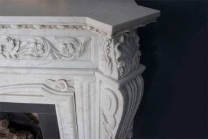 Victorian Fireplace Close Up white marble leg detail