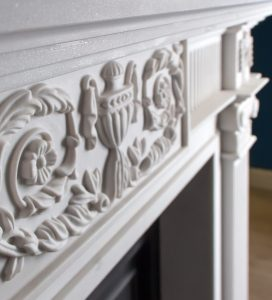 carved white stone fireplace from Buckleys