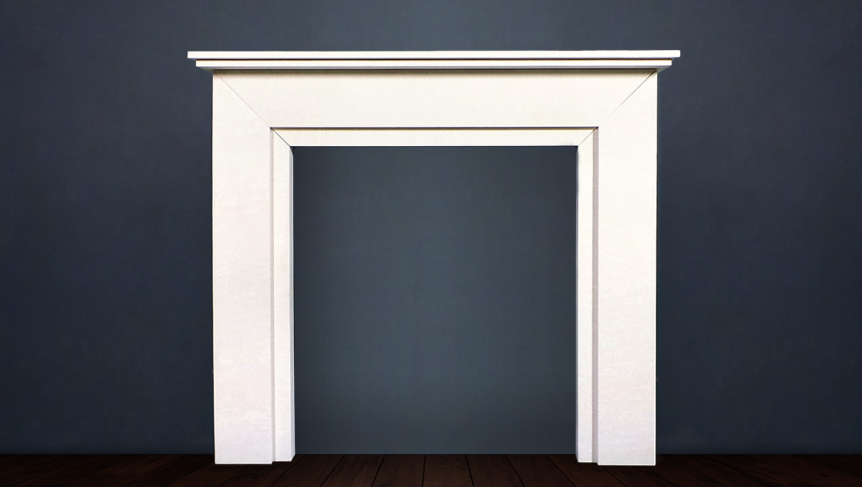 The Aspen is an Art Deco designed fireplace cut in limestone its appeal comes from its elegant proportions and orderly lines