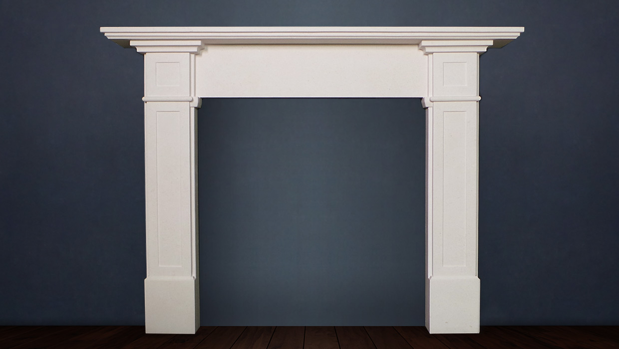 The Richmond fireplace is traditional in design has a refined composition with pleasing lines and a wide mantel available in limestone