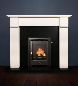 The Abbey fireplace package with Apollo 5kw solid fuel stove. Available form Buckley Fireplaces Dublin, supplied and installed.