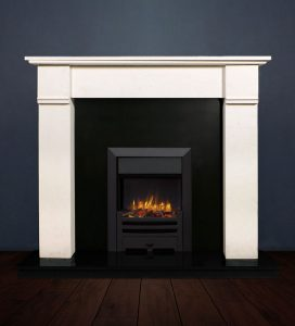 The Abbey II fireplace package with Logic NE Natural Gas Fire, manual control with convectional flue in a matt black finish. Available form Buckley Fireplaces Dublin, supplied and installed.