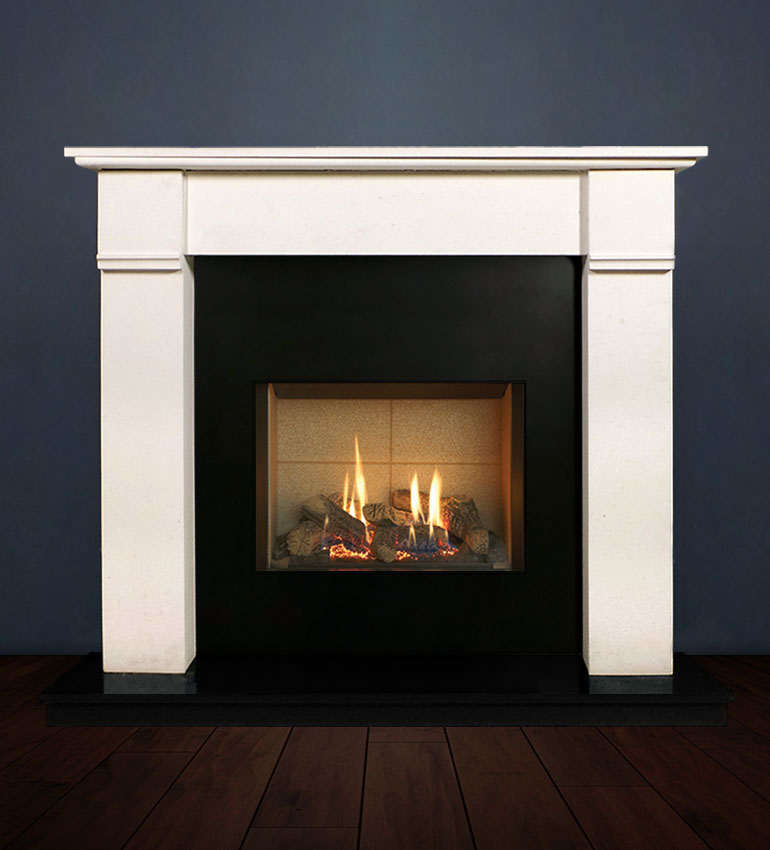 The Abbey fireplace package with Riva 2-500 Natural Gas with vermiculite and logs, remote control with convectional flue. Available form Buckley Fireplaces Dublin, supplied and installed