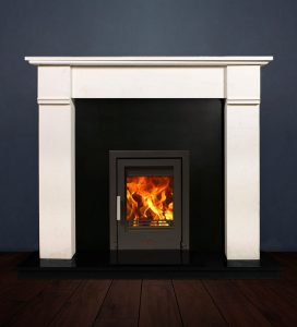 The Abbey fireplace package with Tenbury 5kw solid fuel stove. Available form Buckley Fireplaces Dublin, supplied and installed.