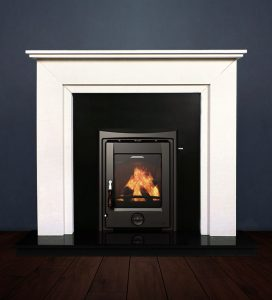 The Aspen fireplace package with Apollo 5kw solid fuel stove. Available form Buckley Fireplaces Dublin, supplied and installed.