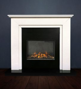 The Aspen fireplace package with Evonic 600F Electric Cassette Fire, remote control. Available form Buckley Fireplaces Dublin, supplied and installed.
