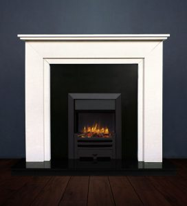 The Aspen fireplace package with Logic NE Natural Gas Fire, manual control with convectional flue in a matt black finish. Available form Buckley Fireplaces Dublin, supplied and installed.