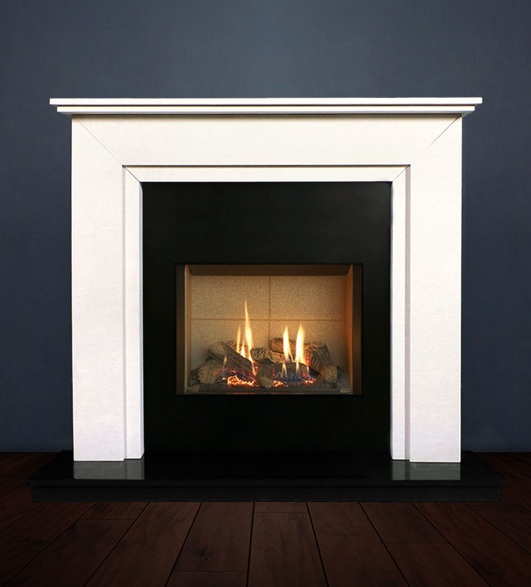The Aspen fireplace package with Riva 2-500 Natural Gas with vermiculite and logs, remote control with convectional flue. Available form Buckley Fireplaces Dublin, supplied and installed.