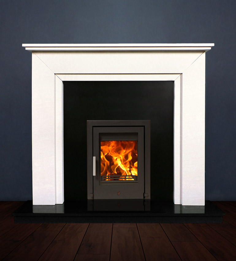 The Aspen fireplace package with Tenbury 5kw solid fuel stove. Available form Buckley Fireplaces Dublin, supplied and installed.