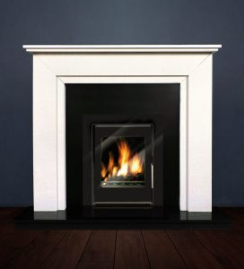 The Aspen fireplace package with Vitea 6kw solid fuel stove. Available form Buckley Fireplaces Dublin, supplied and installed.