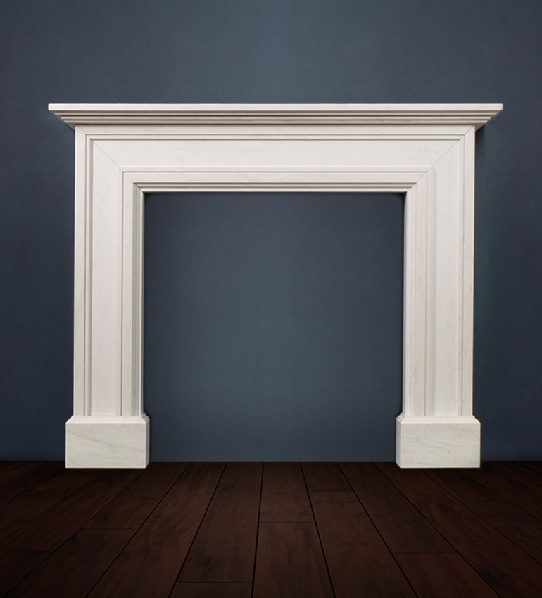 The Madrid fireplace available in limestone boasts a bold architectural design with lines that sweep across the legs and mantel