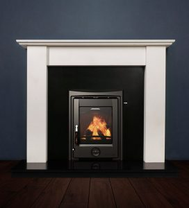 The Merlin fireplace package with Apollo 5kw solid fuel stove. Available form Buckley Fireplaces Dublin, supplied and installed.