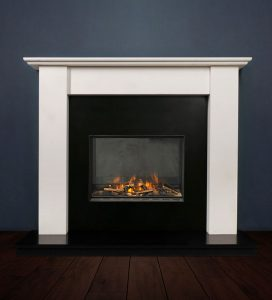 The Merlin fireplace package with Evonic 600F Electric Cassette Fire, remote control. Available form Buckley Fireplaces Dublin, supplied and installed.