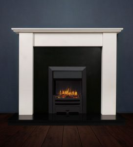 The Merlin II fireplace package with Logic NE Natural Gas Fire, manual control with convectional flue in a matt black finish. Available form Buckley Fireplaces Dublin, supplied and installed.