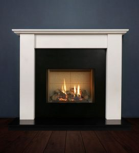The Merlin fireplace package with Riva 2-500 Natural Gas with vermiculite and logs, remote control with convectional flue. Available form Buckley Fireplaces Dublin, supplied and installed.
