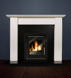 The Merlin fireplace package with Vitea 6kw solid fuel stove. Available form Buckley Fireplaces Dublin, supplied and installed.