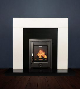 The Modern fireplace package with Apollo 5kw solid fuel stove. Available form Buckley Fireplaces Dublin, supplied and installed.