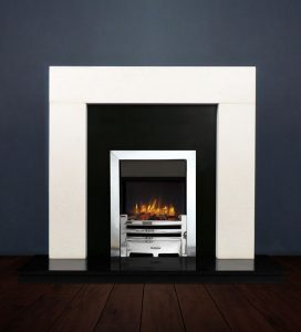 The Modern fireplace package with Logic NE Natural Gas Fire, remote control with convectional flue in a chrome finish. Available form Buckley Fireplaces Dublin, supplied and installed.