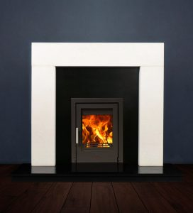 The Modern fireplace package with Tenbury 5kw solid fuel stove. Available form Buckley Fireplaces Dublin, supplied and installed.