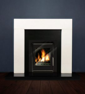 The Modern fireplace package with Vitea 6kw solid fuel stove. Available form Buckley Fireplaces Dublin, supplied and installed.