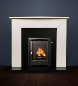 The Modern Two fireplace package with Apollo 5kw solid fuel stove. Available form Buckley Fireplaces Dublin, supplied and installed.