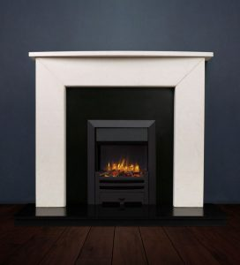 The Modern II fireplace package with Logic NE Natural Gas Fire, manual control with convectional flue in a matt black finish. Available form Buckley Fireplaces Dublin, supplied and installed.