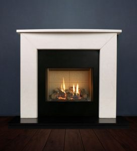 The Modern II fireplace package with Riva 2-500 Natural Gas with vermiculite and logs, remote control with convectional flue. Available form Buckley Fireplaces Dublin, supplied and installed.