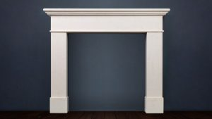 The Renoir is a modern and contemporary fireplace with a bull-nosed triple tiered shelf constructed in limestone