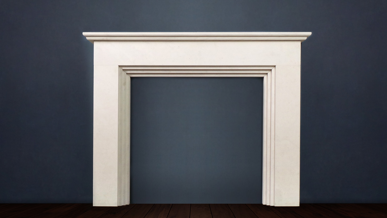 The Sierra is reproduced in limestone a classic example of the Art Deco Period with stepped detailing and a straight shelf statuesque and elegant