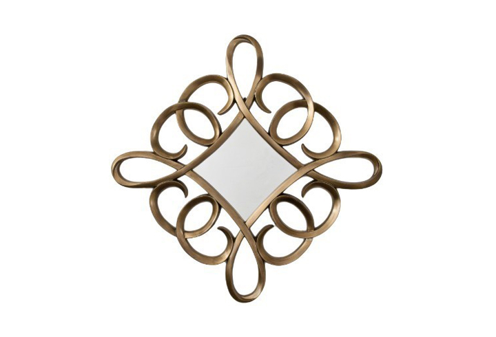 Square Swirl Distressed Bronze Leaf Over Mantel Mirror by Buckleys