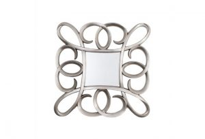 Square Swirl Silver Leaf Frame Over Mantel Mirror by Buckleys
