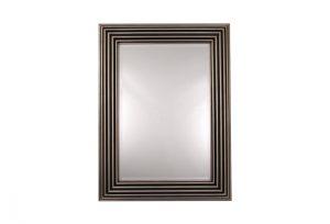 Zamora Silver Leaf & Black Over Mantel Mirror by Buckleys